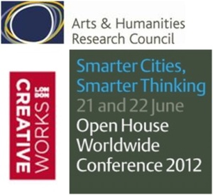 Logos of the AHRC, Smarter Cities, Smarter Thinking and Creative Works.